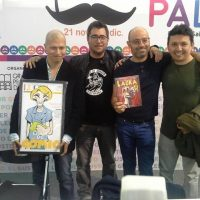 Presentación de Señorita Laura junto a sus coautores Ricardo Montes, Marco Sifuentes y Gino Palomino