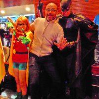 Con Batman y Robin (Foto de Diana Quiñones Lezama)